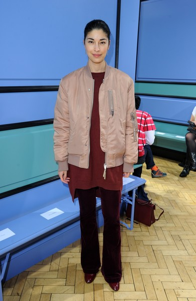 Caroline Issa Bomber Jacket [show,fashion,outerwear,street fashion,fashion design,blazer,celebrities,lfw men,jw anderson,caroline issa,front row,london,england,london fashion week men,collections]