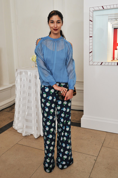 Caroline Issa Print Pants [clothing,pajamas,jeans,denim,fashion,footwear,trousers,leg,textile,sleeve,caroline issa,cartier tank anglaise watch collection - launch party,england,london,launch party,the orangery]