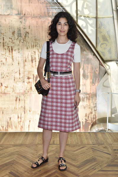 Caroline Issa Flat Sandals [clothing,pattern,dress,fashion,day dress,design,textile,plaid,tartan,caroline issa,front row,milan,italy,osservatorio,prada resort 2018 womenswear show]