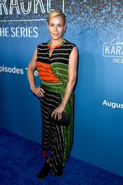Chelsea Handler went for a vibrant color-block wrap dress when she attended the launch of 'Carpool Karaoke: The Series.'