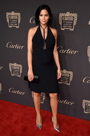 Leigh Lezark smoldered in a tight black halter dress at the Cartier Fifth Avenue grand reopening.