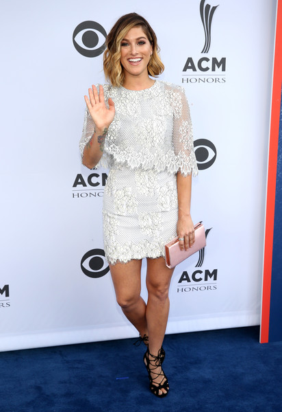 Cassadee Pope Lace-Up Heels [cassadee pope,acm honors - red carpet,acm honors,clothing,dress,white,cocktail dress,shoulder,red carpet,premiere,carpet,footwear,joint,nashville,tennessee,ryman auditorium]
