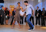 Robin Roberts showed her dancing prowess on 'Good Morning America' wearing a printed halter dress.