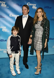 Sarah Jessica Parker wowed at the opening night of 'Catch Me if You Can' in suede and python platform Luxura pumps