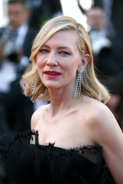 Cate Blanchett Diamond Chandelier Earrings [hair,hairstyle,blond,lady,shoulder,beauty,skin,dress,fashion,smile,red carpet arrivals,cate blanchett,capharnaun,screening,capharnaum,cannes,france,cannes film festival,palais des festivals]