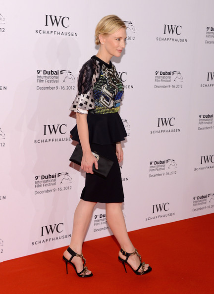 Cate Blanchett Evening Sandals [clothing,red carpet,dress,carpet,premiere,fashion,footwear,cocktail dress,fashion model,shoulder,red carpet arrivals,cate blanchett,iwc filmmaker award,dubai,united arab emirates,the one and only mirage hotel,dubai international film festival,iwc schaffhausen filmmaker award gala dinner and ceremony]