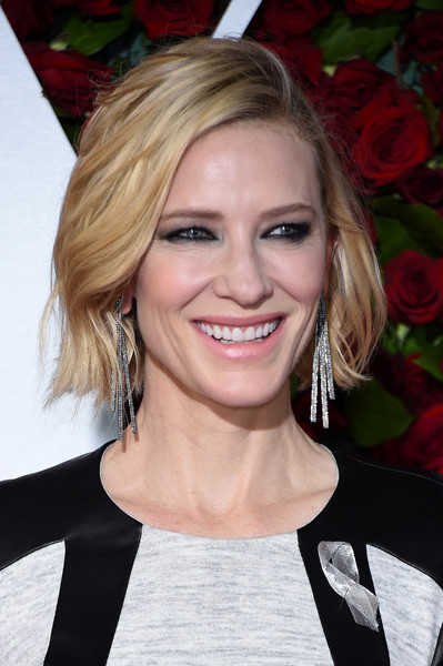 Cate Blanchett Smoky Eyes [hair,blond,facial expression,human hair color,beauty,hairstyle,eyebrow,smile,layered hair,chin,arrivals,cate blanchett,tony awards,the beacon theatre,new york city]