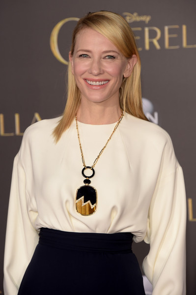 Cate Blanchett Oversized Pendant Necklace [hair,hairstyle,fashion,shoulder,blond,eyewear,neck,dress,smile,fashion accessory,arrivals,cate blanchett,cinderella,california,hollywood,el capitan theatre,disney,premiere,premiere]