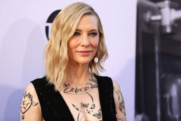 Cate Blanchett Asymmetrical Cut [hair,blond,face,hairstyle,eyebrow,beauty,chin,fashion,long hair,tattoo,dolby theatre,california,hollywood,american film institutes 46th life achievement award gala tribute,george clooney,arrivals,cate blanchett]