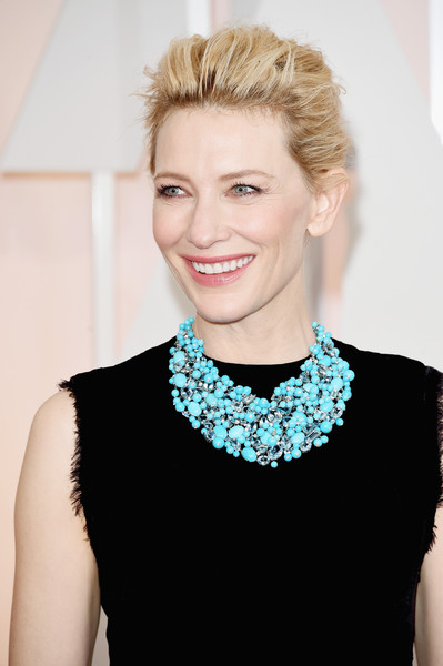 Cate Blanchett Turquoise Necklace [hair,jewellery,beauty,fashion model,human hair color,blond,hairstyle,shoulder,fashion,neck,hollywood highland center,california,87th annual academy awards,cate blanchett,arrivals]
