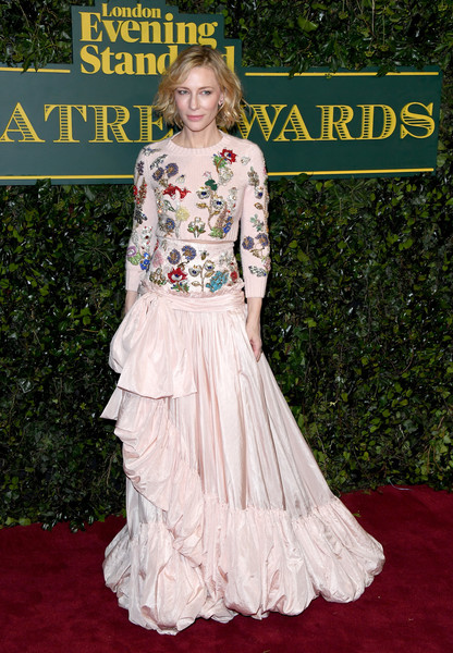 Cate Blanchett Crop Top [clothing,carpet,dress,red carpet,gown,flooring,fashion,lady,hairstyle,premiere,red carpet arrivals,cate blanchett,london evening standard theatre awards,london,england,theatre royal]