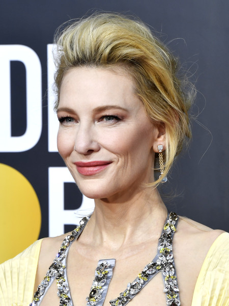 Cate Blanchett Messy Updo [hair,face,hairstyle,blond,eyebrow,lip,chin,beauty,forehead,eyelash,arrivals,cate blanchett,the beverly hilton hotel,beverly hills,california,golden globe awards,cate blanchett,mrs. america,golden globe awards,stock photography,getty images,photograph,image,celebrity,2020]