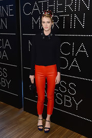 Mackenzie Davis chose this black blouse with an embellished collar for her evening look.