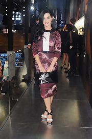 Katy Perry's burgundy patterned frock had a cool retro vibe at the Prada and 'The Great Gatsby' event in NYC.
