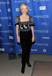 Anne donned black skinny pants with mid calf boots for the Sundance Film Festival.