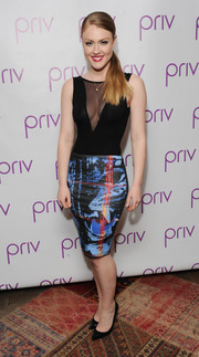 Camilla Kerslake paired her sexy top with a vibrant-print pencil skirt.