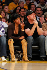 Regina King's knee-high lace up boots almost stole the limelight from the game during the 2010 NBA Playoffs.