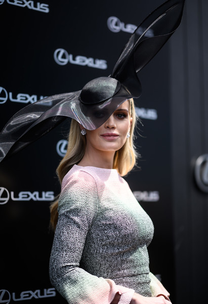 Lady Kitty Spencer showed off a dramatic black hat by Stephen Jones at the 2019 Melbourne Cup Day.