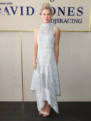 Rachael Taylor was cool and chic in a gray handkerchief-hem maxi dress by Dion Lee while attending Caulfield Cup Day.