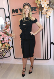 Jennifer Hawkins was modern and feminine during Derby Day in a Toni Maticevski LBD with bodice cutouts and ruffle detailing.