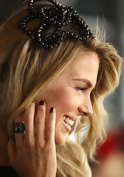 Jennifer Hawkins attended Golden Slipper Day in Sydney, Australia with her nails painted an inky black shade of polish.