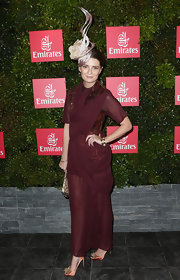 Mischa looked so lovely in her beaded maroon dress with sheer layers at the Melbourne Cup.