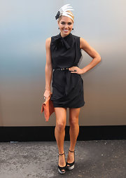 Ashley Hart attended Victoria Derby Day wearing an LBD with ruched detailing.