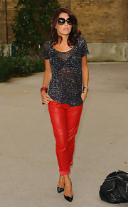 Danielle Bux looked quintessentially chic in a semi-sheer tee while attending The Look show in London.
