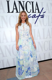 Abbie Cornish looked fresh in a blue and mint gree dress with lace detailing.