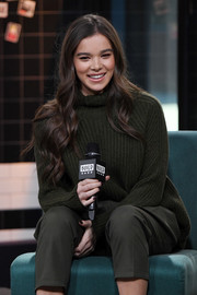 Hailee Steinfeld stayed cozy in a dark green turtleneck while visiting Build.