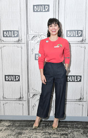 Constance Zimmer was casual and cute in a Rebecca Minkoff 'Graham Patchwork Sweatshirt' while visiting Build.