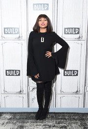 Taraji P. Henson struck a pose wearing a bell-sleeve LBD while visiting Build.
