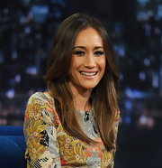 Maggie Q wore her hair in a face-framing feathered style with a center part when she appeared on 'Late Night with Jimmy Fallon.'