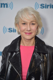 Helen Mirren visited SiriusXM wearing a short 'do with wispy bangs.