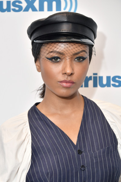 Kat Graham sported a thick cat eye while visiting SiriusXM.