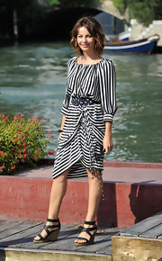 Violante ventured around in a black-and-white striped day dress during the Venice Film Festival.