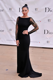 Bridget Kelly opted for a sleek and sexy look at the American Ballet Spring Gala where she wore this sleek black gown with sheer embellished sleeves.