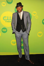 Cress Williams looked sharp in this three-piece suit that featured a black vest.