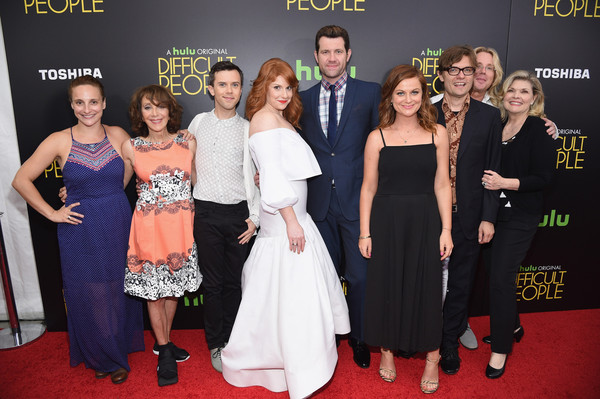 More Pics of Amy Poehler Jumpsuit (5 of 18) - Amy Poehler Lookbook - StyleBistro [hulu original,red carpet,carpet,premiere,event,dress,flooring,fashion,formal wear,gown,celebs,tracee chimo,amy poehler,julie klausner,billy eichner,hulu,l-r,party,difficult people premiere]