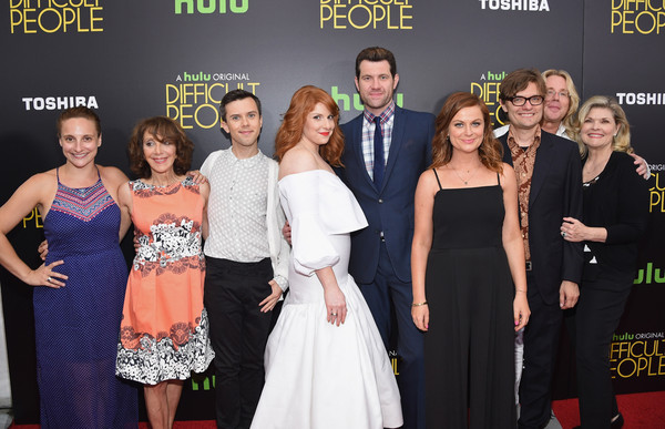 More Pics of Amy Poehler Jumpsuit (4 of 18) - Amy Poehler Lookbook - StyleBistro [hulu original,event,premiere,carpet,dress,red carpet,fashion,flooring,award,formal wear,celebs,tracee chimo,amy poehler,julie klausner,billy eichner,hulu,l-r,party,difficult people premiere]