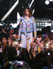 Selena Gomez looked adorable in her Jenny Packham printed leather jacket while speaking onstage during WE Day California.