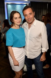 Emilia Clarke was on trend in a bright blue crop top during her visit to the Variety Studio.