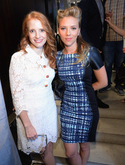 Jessica Chastain looked demure and ladylike in a white lace shirtdress during her visit to the Variety Studio.