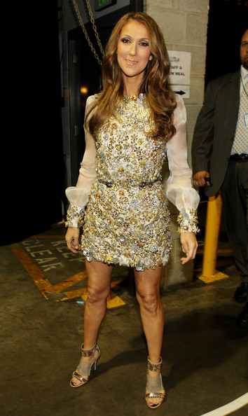 Celine Dion Beaded Dress [fashion model,clothing,fashion,cocktail dress,dress,hairstyle,footwear,shoulder,leg,lady,celine dion,backstage,staples center,los angeles,california,52nd annual grammy awards]