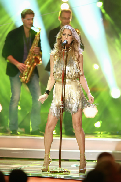 Celine Dion Fringed Dress [performance,performing arts,fashion,public event,event,fun,music,stage,grass,performance art,celine dion,bambi awards,stadthalle duesseldorf,germany,bambi awards 2012]