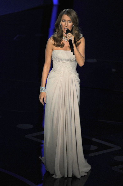 Celine Dion Strapless Dress