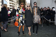 Anna dello Russo was a striking mix of colors at the Celine fashion show in an abstract-print coat from the label.