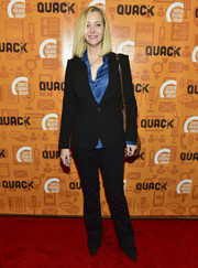 Lisa Kudrow opted for a simple black suit when she attended the opening night performance of 'Quack.'
