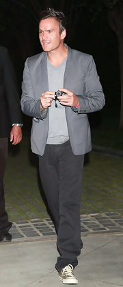 Balthazar Getty looked casually elegant in a gray blazer at Chanel's Benefit Dinner.