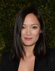 Pom Klementieff wore her hair in a simple straight style during Drew Barrymore's book release party.